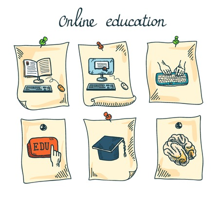 Online education e-learning webinar digital school sticker set isolated vector illustration Vector