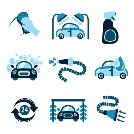 water hoses: Car wash auto cleaner 24h service isolated icons vector illustration Illustration