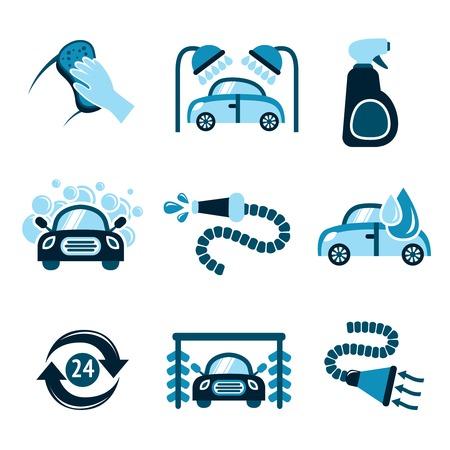 Servicio 24h limpiador automático de lavado de coches iconos aislados ilustración vectorial