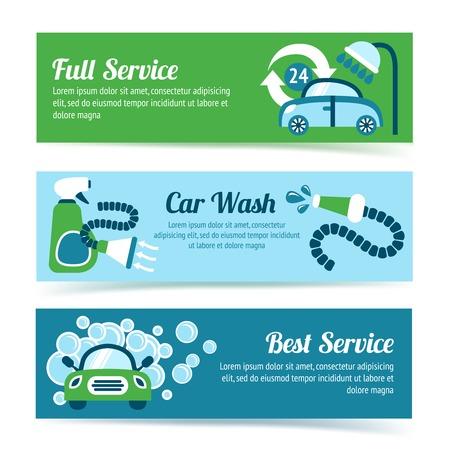 shiny car: Wasstraat auto schoner wasmachine douche dienst banners set geïsoleerd vector illustratie Stock Illustratie