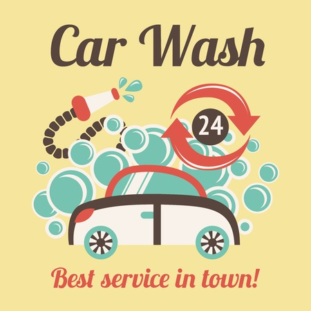 wash care: Car wash auto cleaner best service in town 24h poster vector illustration.