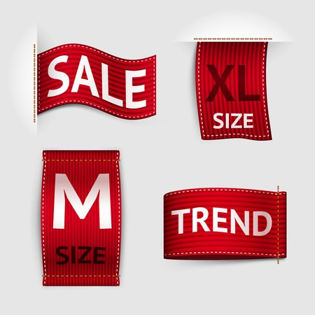 xs: Clothing size trend sale red label ribbon set isolated vector illustration Illustration