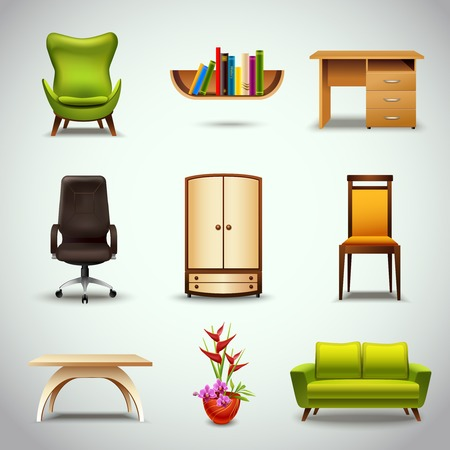 office furniture: Furniture realistic decorative icons set of chair bookshelf table  isolated vector illustration