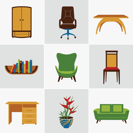 home office desk: Furniture flat decorative icons set of chair bookshelf table  isolated vector illustration Illustration