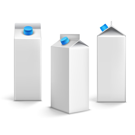 food packaging: Juice milk blank white carton boxes packages 3d isolated icons vector illustration Illustration