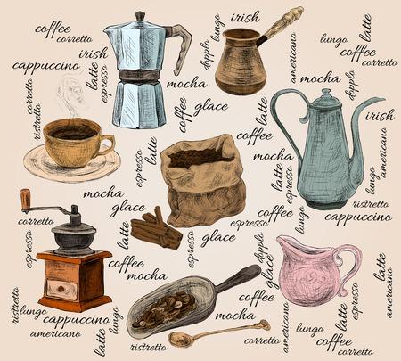 Decorative retro cappuccino mocha espresso irish latte americano coffee set doodle color handdrawn background vector illustration Illustration