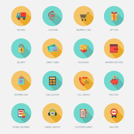 E-commerce shopping icons flat set of delivery shopping cart gift box isolated vector illustration