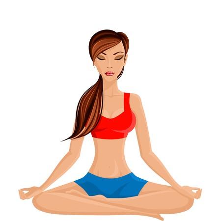 techniek: Jonge sexy slanke vrouw beoefenen van yoga in halve lotus zitten poseren vector illustratie Stock Illustratie
