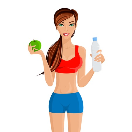 weight gain: Young fit attractive girl maintains healthy weight with apple water diet and workout vector illustration