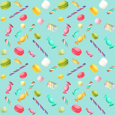 Sweets candy seamless pattern with macaron and marshmallow vector illustration Иллюстрация