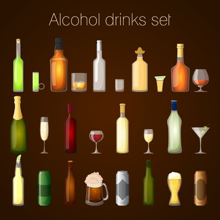 alcoholic drink: Alcohol drinks bottles and glass set of wine beer champagne martini isolated vector illustration