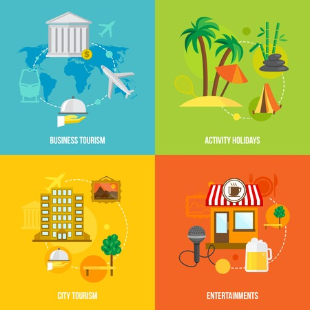 Building tourism icons flat set of business activity holidays city entertainments isolated vector illustration Vector