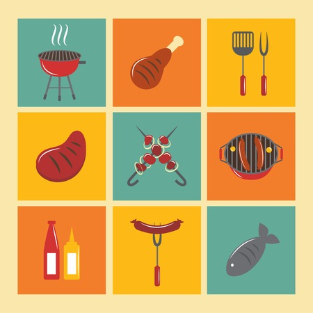 Fish and meat bbq food fire outdoor party icons flat set isolated vector illustration Vector