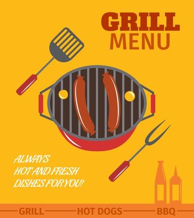 バーベキュー グリル メニュー レストラン常に温かい料理、新鮮な料理ポスター ベクトル イラスト  イラスト・ベクター素材