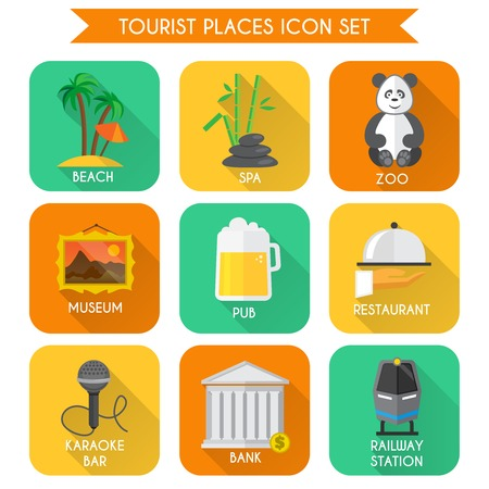 Decorative tourist places icons set of beach zoo spa isolated vector illustration Vector