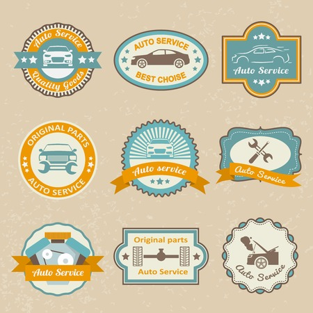 Auto mechanic service labels set of maintenance car repair and working isolated vector illustration Vector