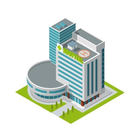 지붕 아이소 메트릭 벡터 일러스트 레이 션에서 절연에 헬기 착륙장과 현대 3D 도시의 병원 건물