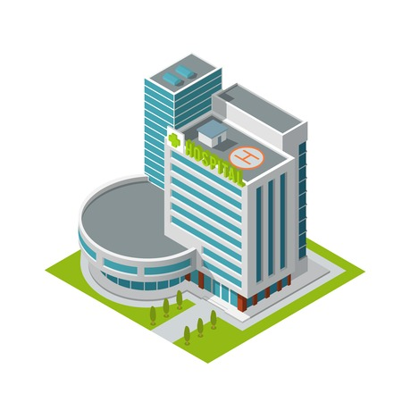 hospital sign: Modern 3d urban hospital building with helipad on the roof isometric isolated vector illustration