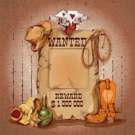 Wild west wanted man for reward poster with cowboy elements vector illustration Иллюстрация