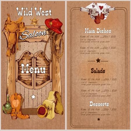 wild wild west: Selvaggio west saloon modello di menu ristorante con sella cappello di cowboy sceriffo illustrazione vettoriale distintivo