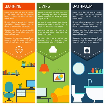indoor garden: House interiors banners with working living room bathroom isolated vector illustration