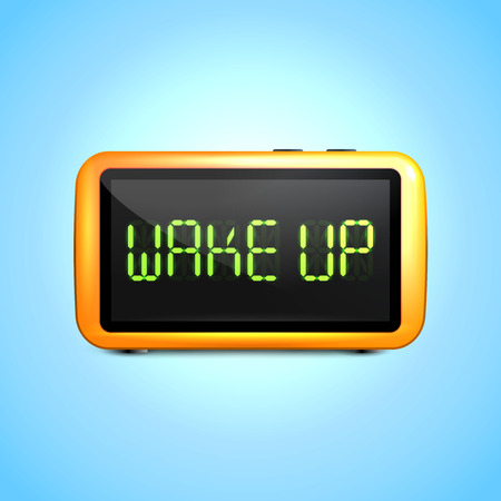 digital clock: Realistic digital alarm clock with lcd display wake up concept text vector illustration