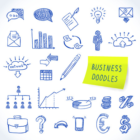 Doodle business set of finance economy marketing decorative icons isolated vector illustration Illustration