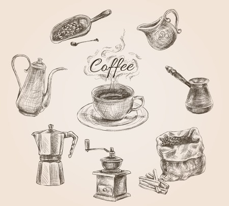 coffee set: Coffee set with milk can, cezve and coffee beans vintage doodle hand drawn vector illustration Illustration
