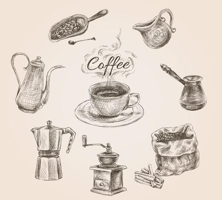 Kaffeesatz mit Milch, cezve und Kaffeebohnen vintage doodle Hand gezeichnet Vektor-Illustration Vektorgrafik