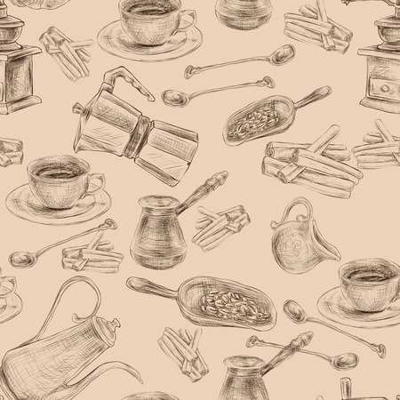 antic: Decorative retro coffee set with grinder beans  sugar seamless background wrapping paper handdrawn design doodle vector illustration