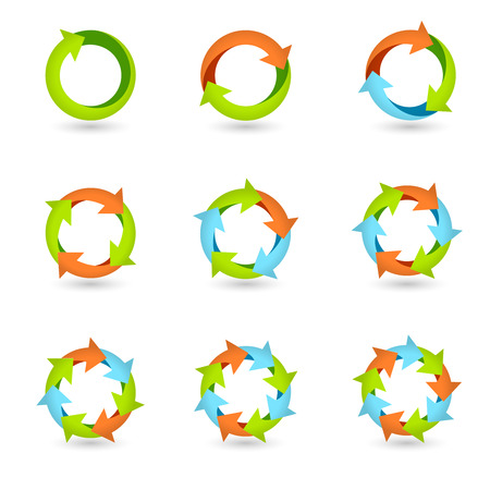 cycle arrows: Circle round colored icons set loop cycle repeat redo signs isolated vector illustration