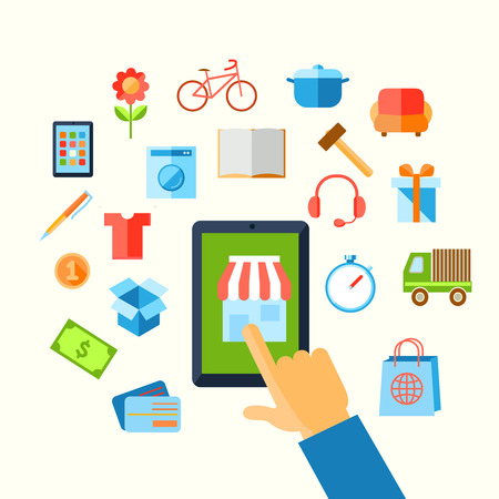 E-commerce shopping with hand touching screen and icons vector illustration. Vector