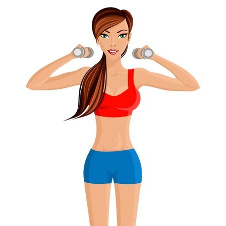 sexy meisje: Jonge aantrekkelijke sexy meisje in de rode sportkleding top met hand halters workout vectorillustratie