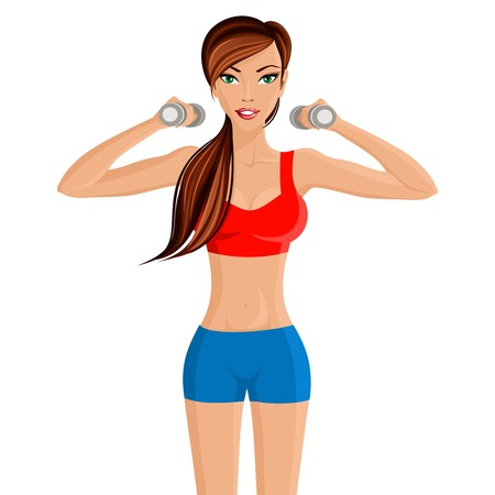 weight loss woman: Young attractive sexy girl in red sportswear top with hand dumbbells workout vector illustration Illustration