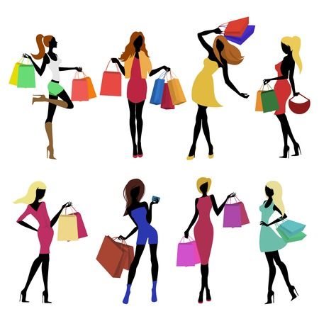 Shopping girl female figure silhouettes with sale bags isolated vector illustration.