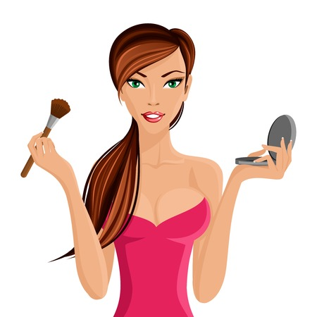 make up applying: Young beautiful woman applying makeup with brush and powder vector illustration Illustration