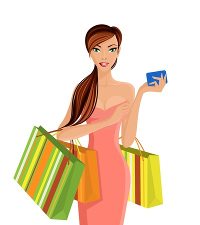 woman smartphone: Young sexy attractive woman with shopping bags and smartphone vector illustration