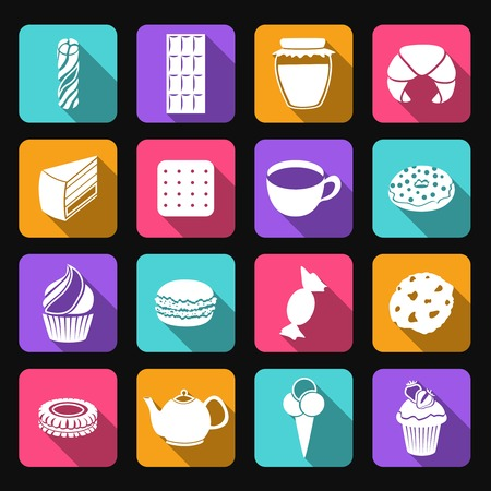 Pastry and sweets icons set of croissant layered cake cookies isolated vector illustration Vector