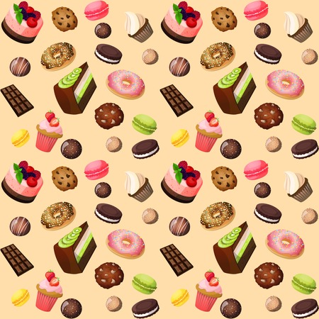 cup cake: Sweets seamless background of cakes chocolate biscuits macaron donut vector illustration
