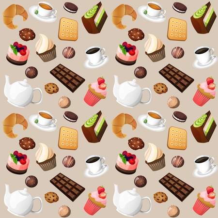 Coffee and sweets seamless background of cakes chocolate biscuits vector illustration Vector