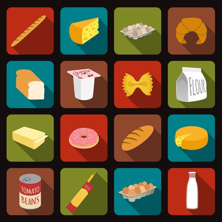 Food icons set of bread milk bottle egg box flour pack isolated vector illustration Vector