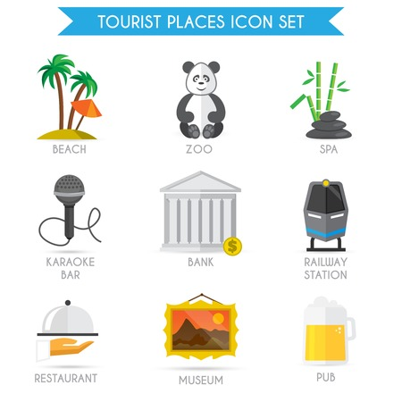 tourist icon: Building decorative tourist places icons set of beach zoo spa isolated vector illustration