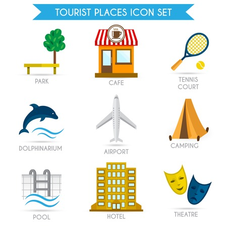 Tourist places decorative icons set of park cafe tennis court isolated vector illustration Vector