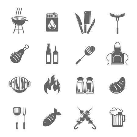 Fish and meat bbq food fire outdoor party icons set isolated vector illustration
