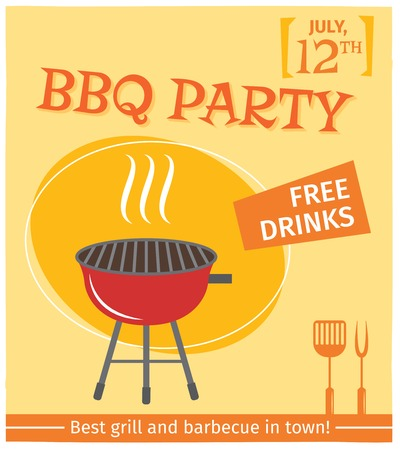 salmon steak: Bbq grill party best in town flyer promo restaurant poster vector illustration