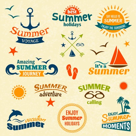 Vintage summer voyage enjoy holidays elements label set vector illustration Vector