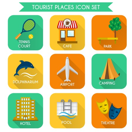 Tourist places decorative icons set of airport camping hotel isolated vector illustration Vector
