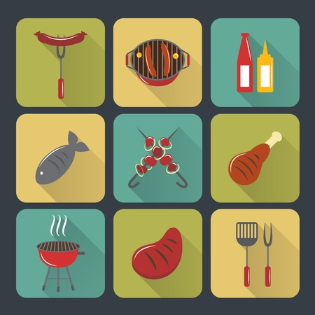 bbq grill: Fish and meat bbq food grilled sausages and steak flat set isolated vector illustration