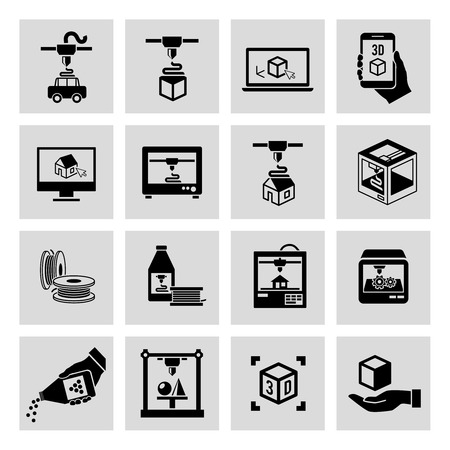 Printer 3d black icons set of manufacturing technology and production process isolated vector illustration