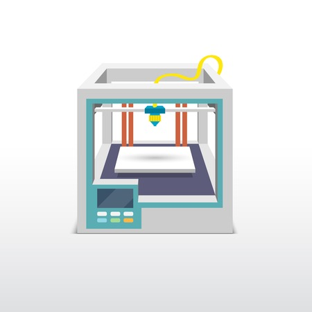 Printing machine 3d printer technical innovation model prototype vector illustration Illustration